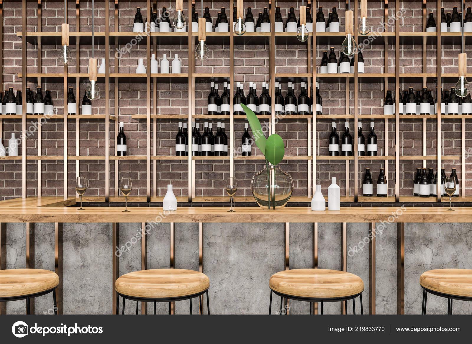 Interni elegante bar con pareti mattoni legno tavolo sgabelli