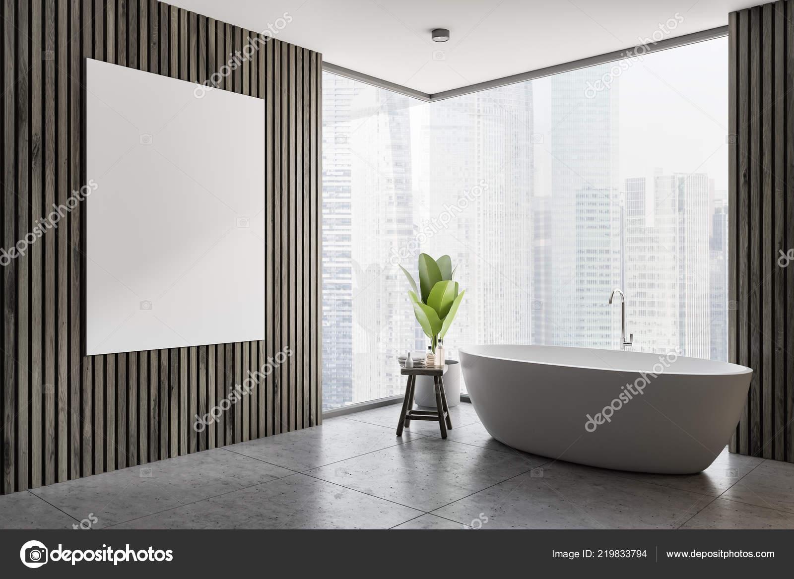 Esquina Del Cuarto Baño Moderno Con Paredes Madera Oscuras ...