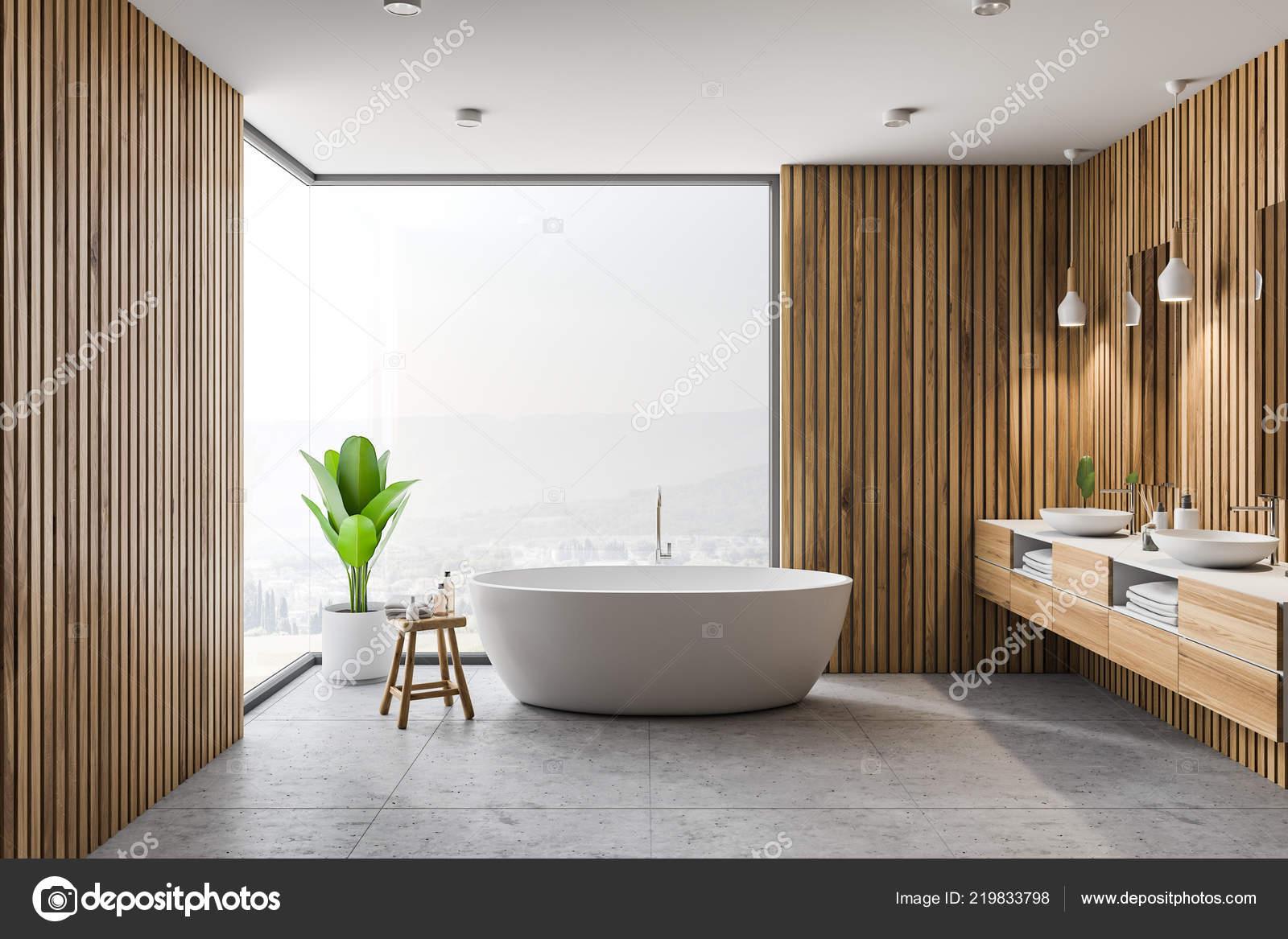 Moderne Badkamer Interieur Met Houten Wanden Grijze Vloer Witte Bad Stockfoto Rechtenvrije Foto Door C Denisismagilov 219833798