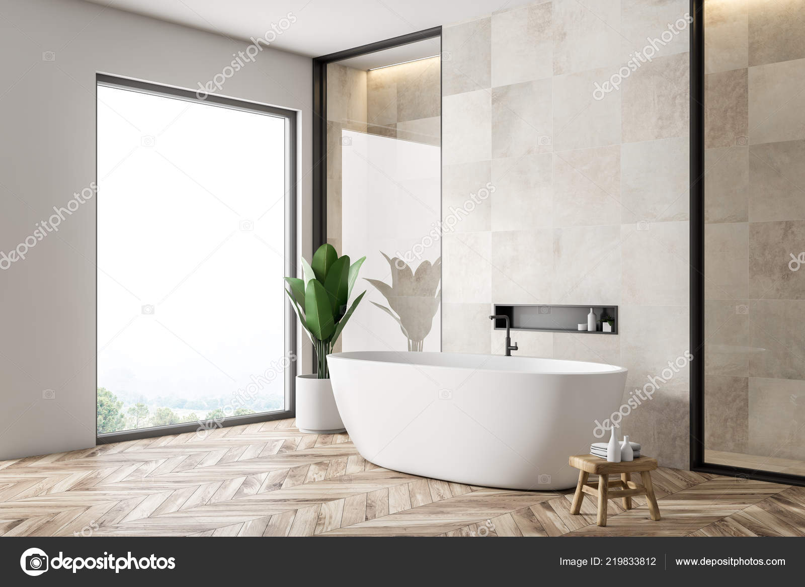 Holzfußboden Bad ~ Modernes bad ecke mit weißen fliesen wände holzfußboden weiße