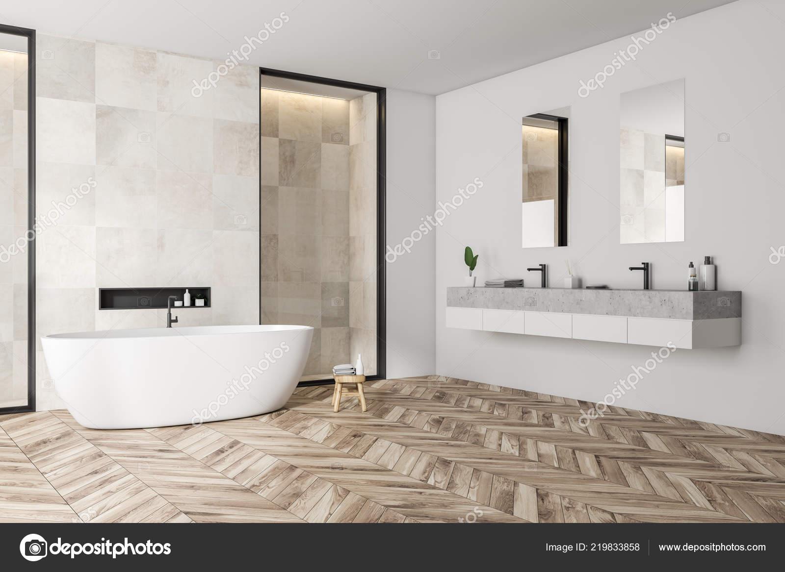 Angolo moderno bagno con piastrelle bianche pareti pavimento legno vasca foto stock - Piastrelle bagno bianche ...