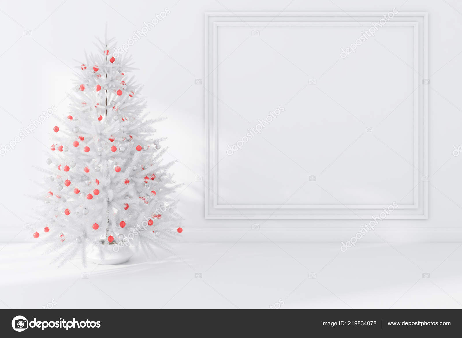 White Wall Empty Room Interior White Floor Decorated Christmas Tree Stock Photo Image By C Denisismagilov 219834078