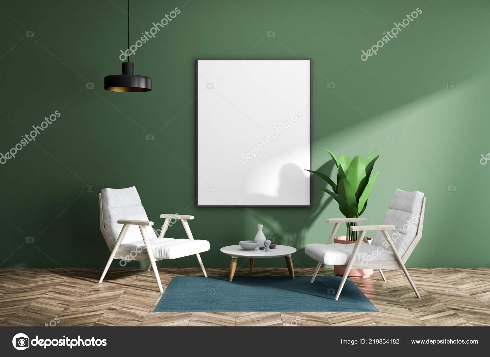 Minimalistische groene woonkamer interieur met houten vloer
