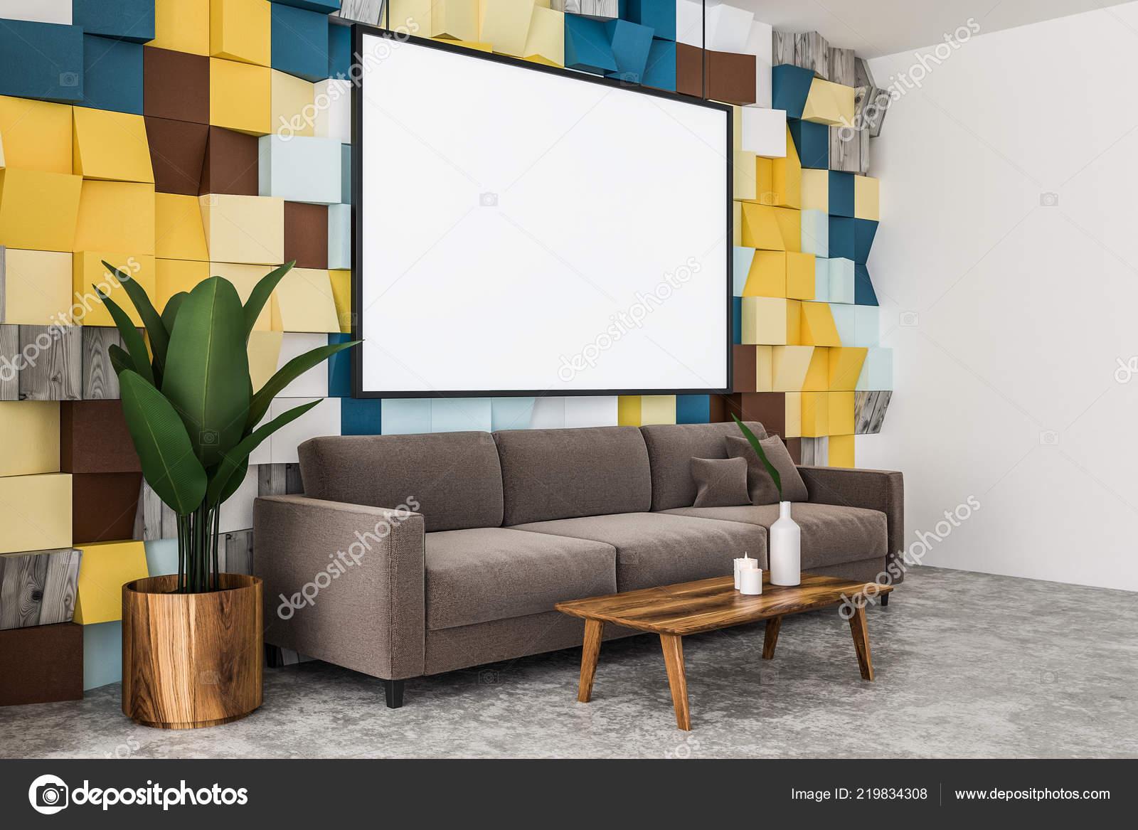 Magnifica vista lato del colore piastrelle parete soggiorno con