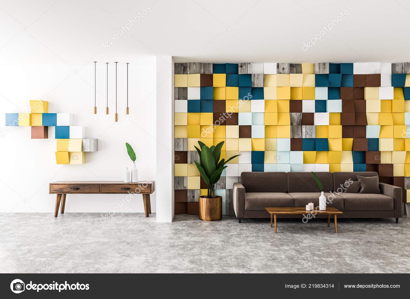 Farbige Fliesen Wand Wohnzimmer Interieur Mit Betonboden Braunen
