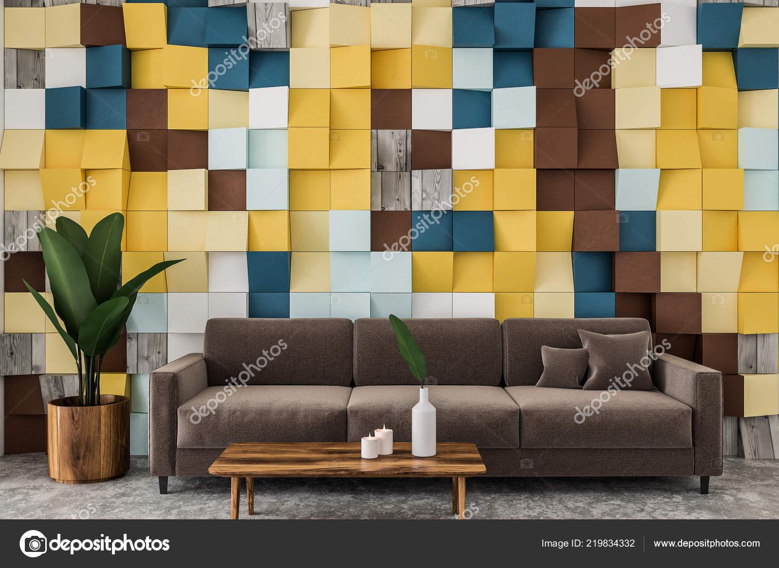 Carreaux Couleur Mur Salon Intérieur Avec Plancher Béton ...