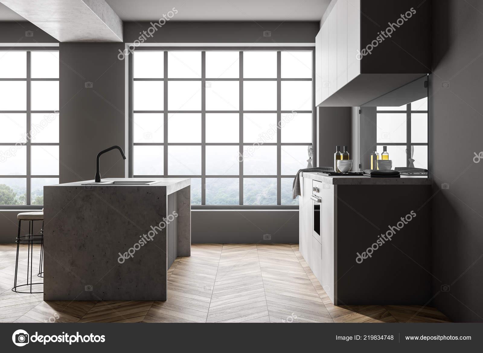 Moderne Keuken Grijs : Interieur van moderne keuken met witte grijze houten vloer witte