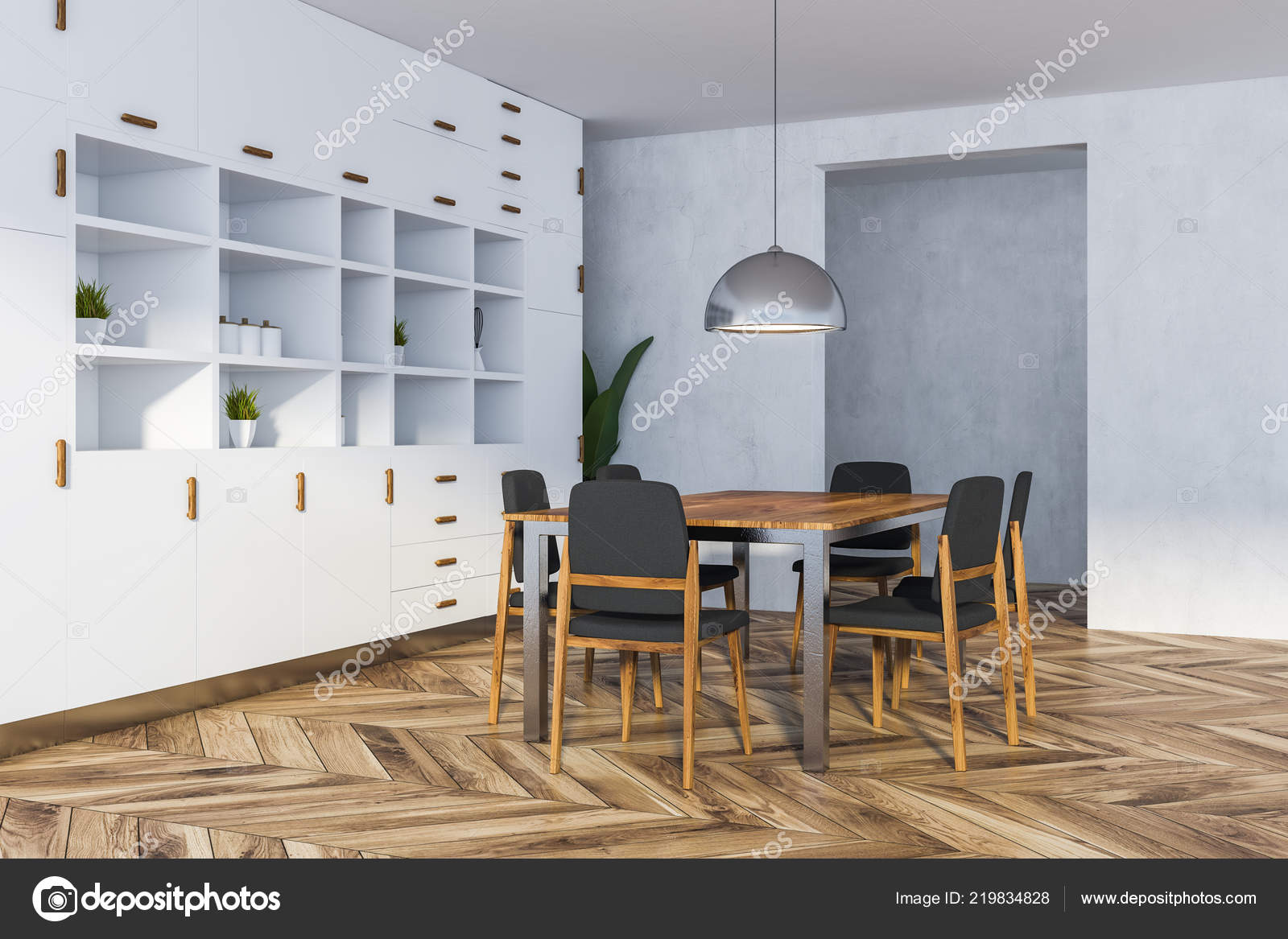 Picture of: Corner Dining Room White Walls Wooden Floor Long Table Chairs Stock Photo C Denisismagilov 219834828