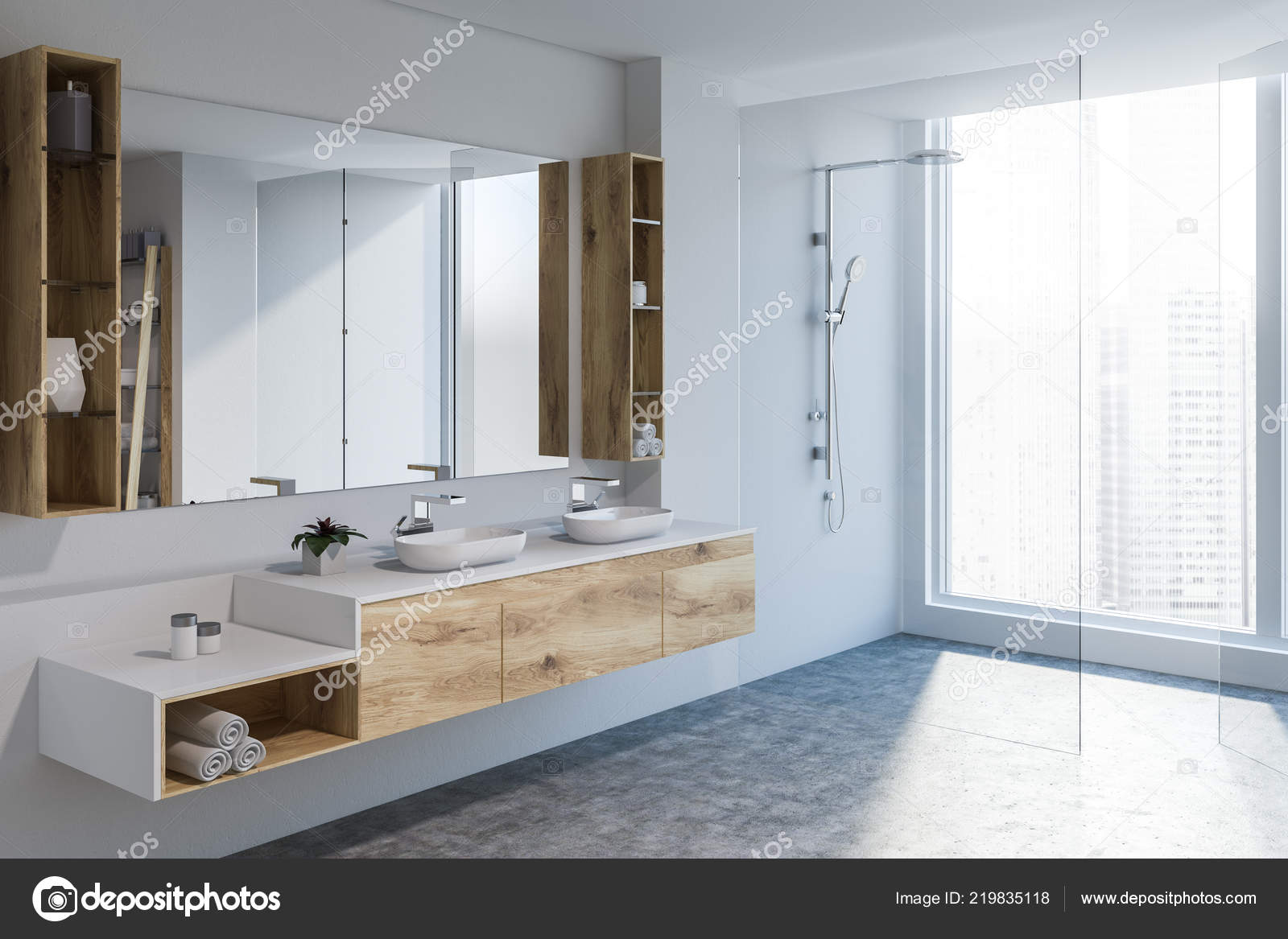 Moderne badkamer hoek met witte muren betonnen vloer dubbele
