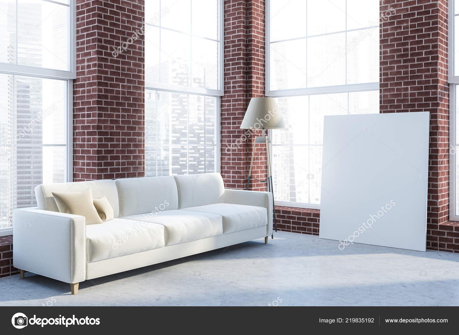 pisos de concreto sala de estar Interior Sala Estar Lujo Con Paredes Ladrillo Piso Concreto