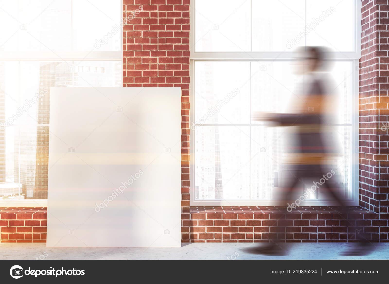 Man Walking Empty Room Brick Walls Concrete Floor Big Windows Stock Photo C Denisismagilov 219835224