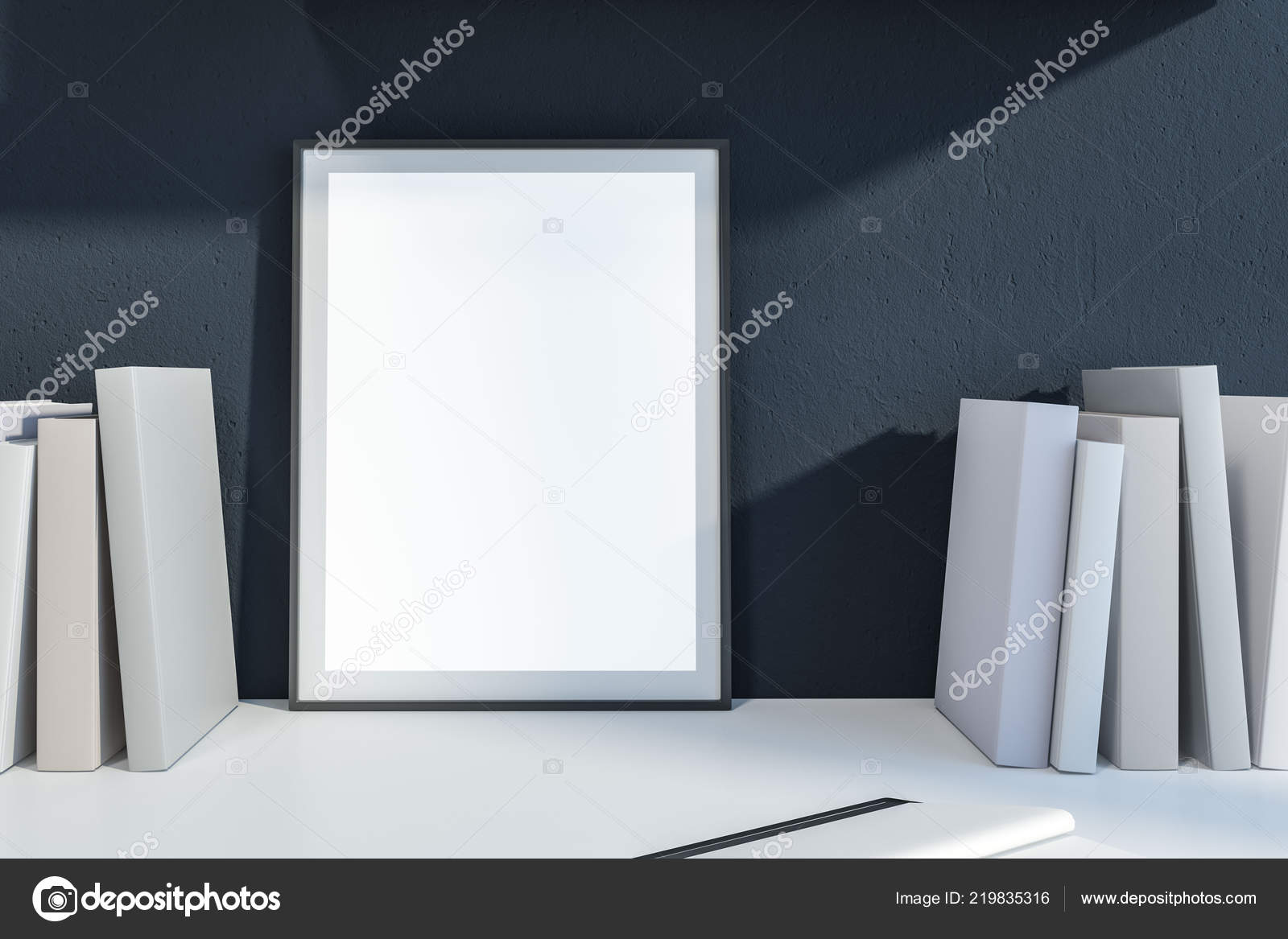 Bookshelf With Blank Book Covers And Vertical Mock Up Poster Frame Leaning Against Dark Gray Wall Advertising Marketing Concept