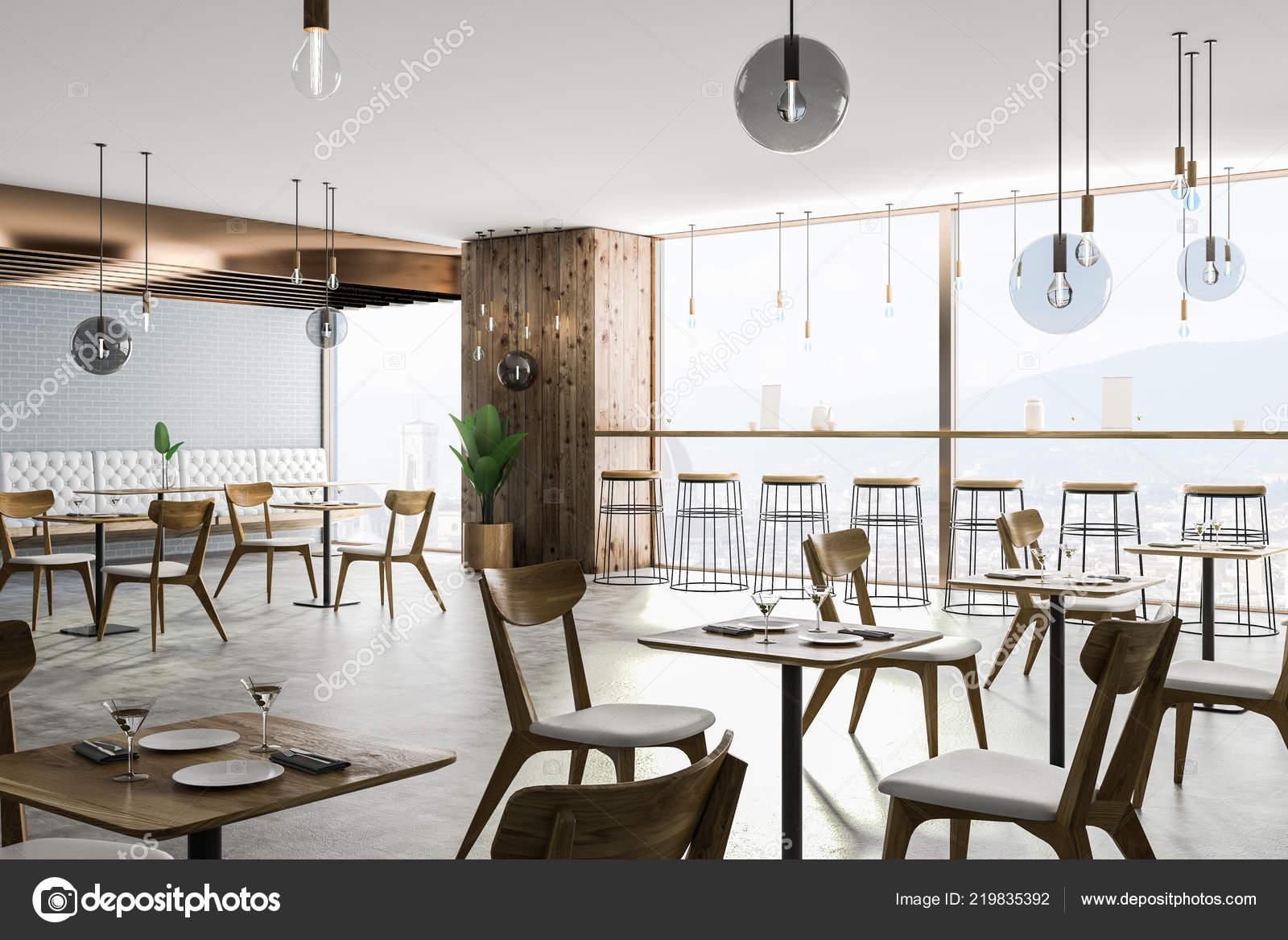 a44206a927bf Esquina Restaurante Moderno Con Ladrillo Gris Paredes Madera Piso Concreto  — Foto de Stock