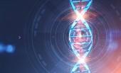 Zářící modrá spirála dna v hud rozhraní nad modrým pozadím. Pojetí medicíny a vědy. 3D vykreslování laděných dvojitá expozice obrazu mock-up