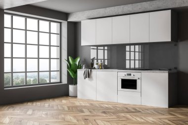 Minimalistic kitchen interior with gray walls, wooden floor, white countertops and cupboards and big window. 3d rendering