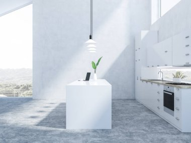 Interior of stylish kitchen with white walls, concrete floor, white countertops and island. 3d rendering
