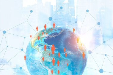 Earth in city with network hologram and people icons. Futuristic interface. Global trade concept. 3d rendering toned image double exposure Elements of this image furnished by NASA