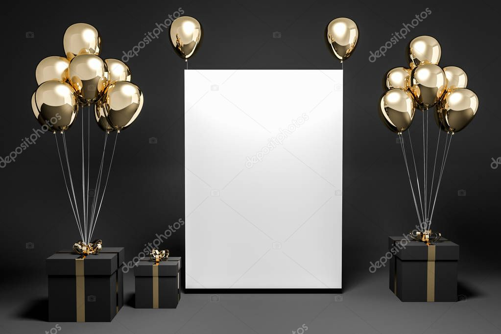 Black present boxes with gold ribbons and gold balloons standing in an empty black room. Vertical mock up poster. Concept of gifts and celebration. 3d rendering
