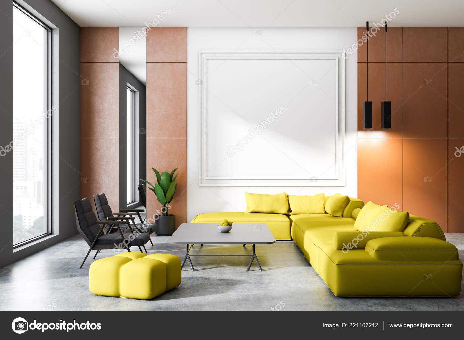 Mur Orange Blanc Salon Intérieur Avec Plancher Béton Canapé ...