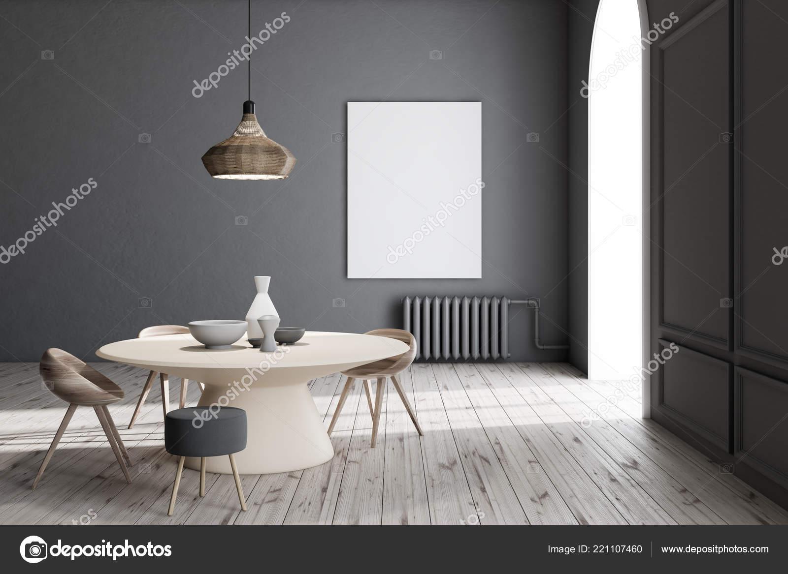 Moderne Esszimmer Einrichtung Mit Grauen Wänden Holzboden ...