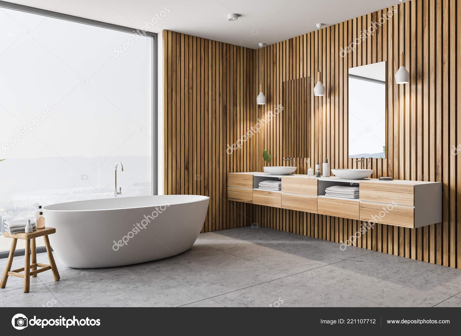 Coin Salle Bains Moderne Avec Des Murs Bois Sol Gris — Photographie ...