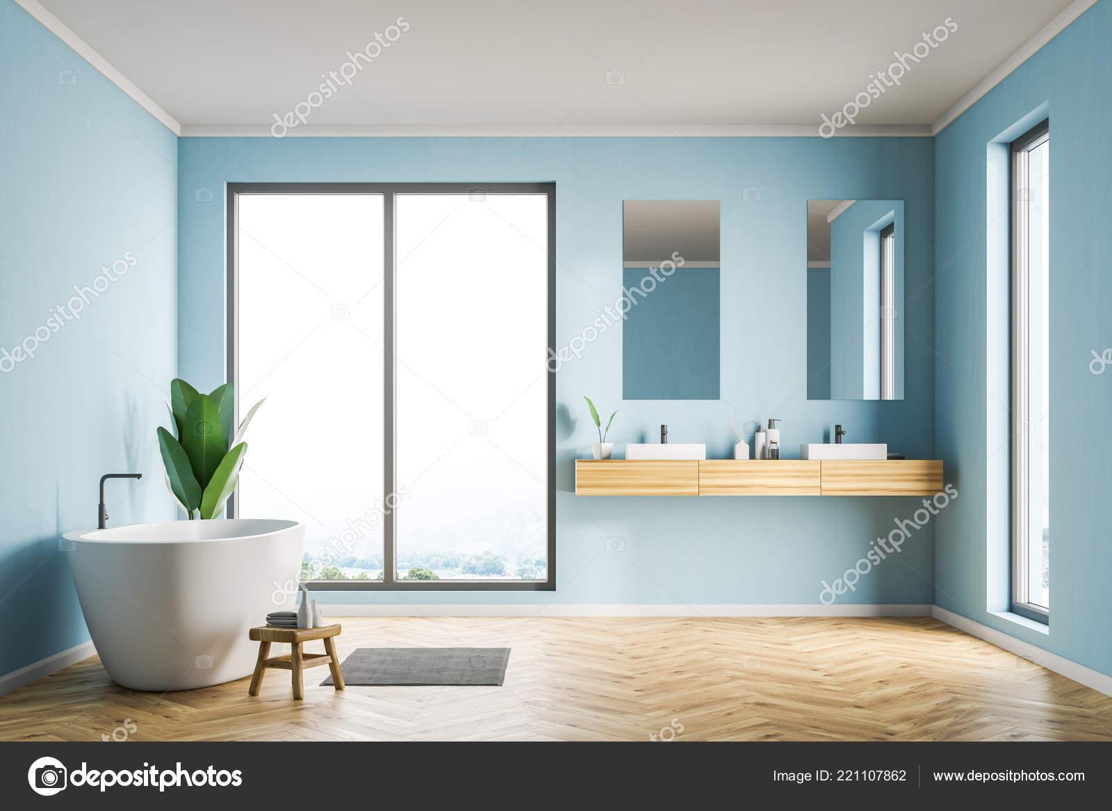 Vasca Da Bagno Verticale : Interno bagno sottotetto con pareti blu pavimento legno vasca