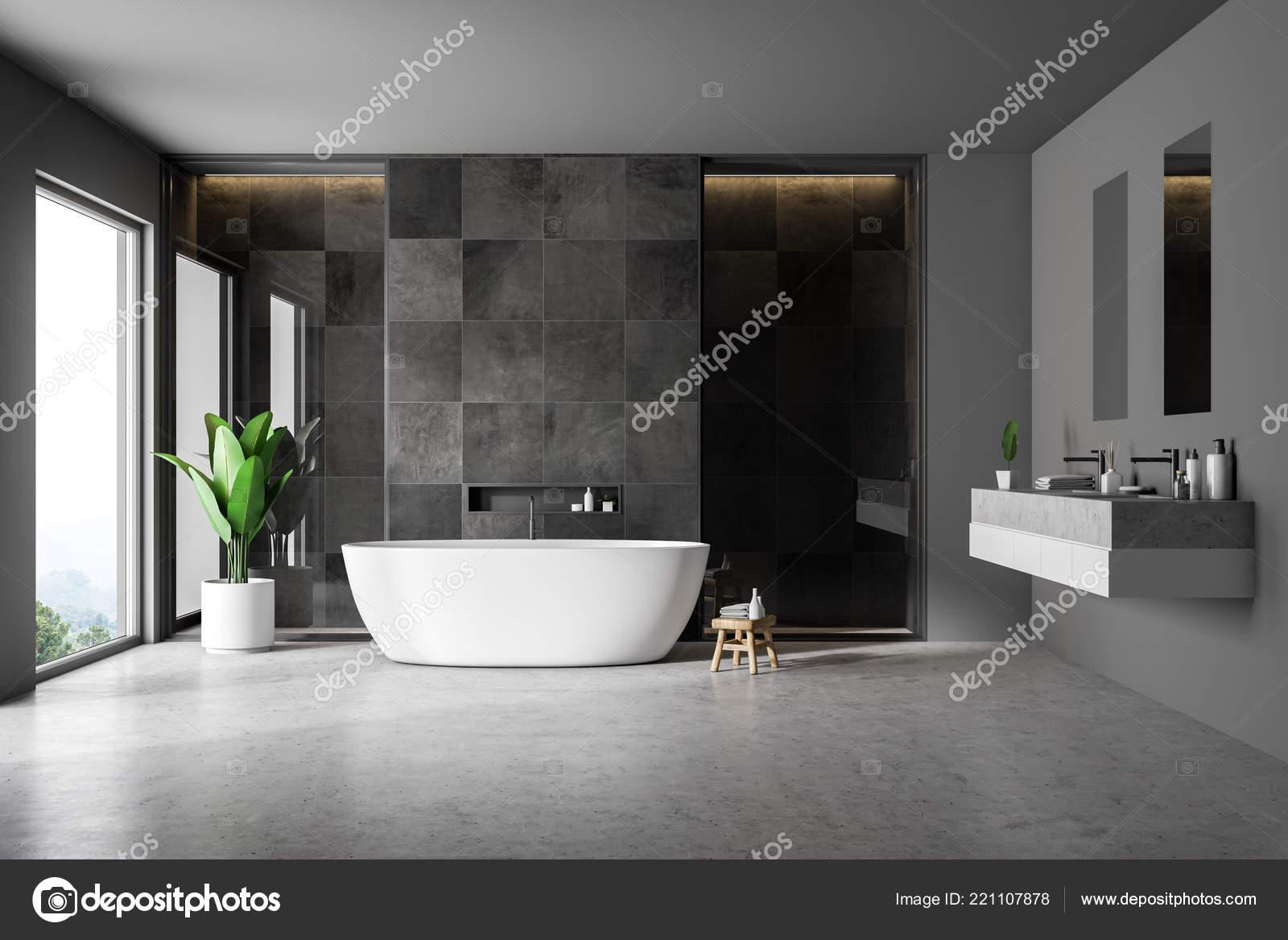 Interior Cuarto Baño Moderno Con Paredes Azulejo Negro Piso Concreto ...