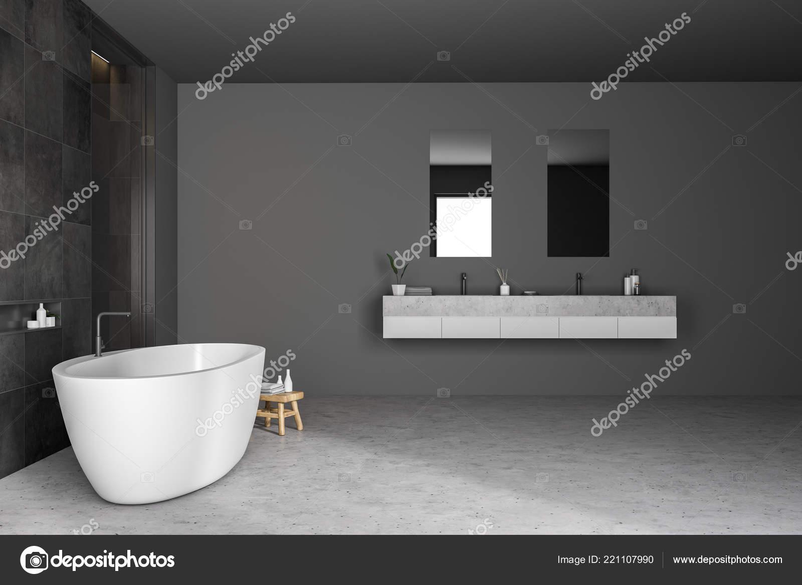 Sala Da Bagno Moderna : Vista laterale della stanza bagno moderna con mattonelle nere pareti