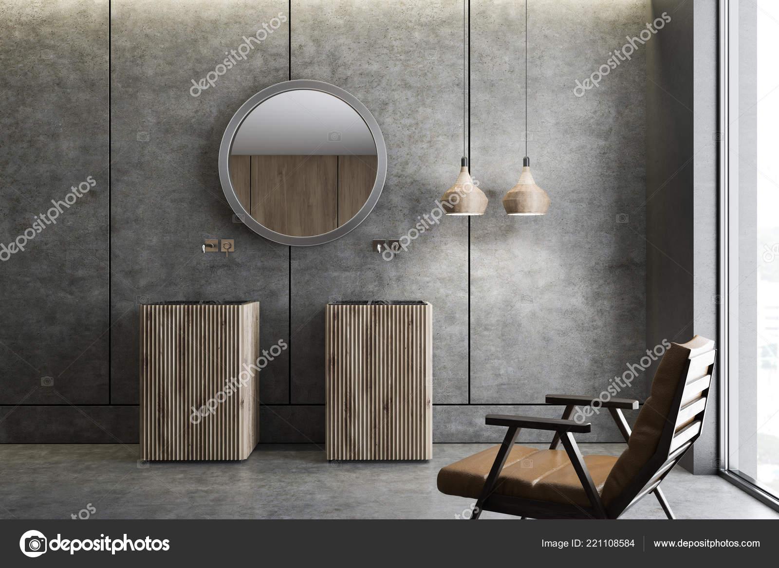Interior Cuarto Baño Moderno Con Paredes Concreto Piso Dos Madera ...