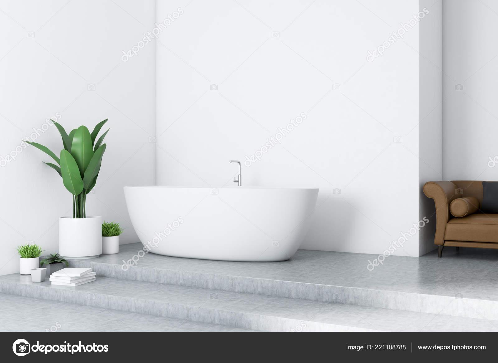 Vasca Da Bagno Divano.Interno Del Bagno Moderno Con Pareti Bianche Pavimento Cemento Vasca