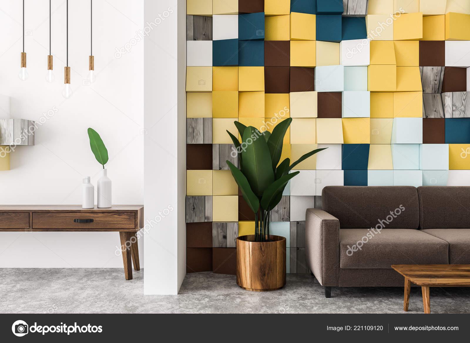 Chiuda dell interno piastrelle colorate parete soggiorno con