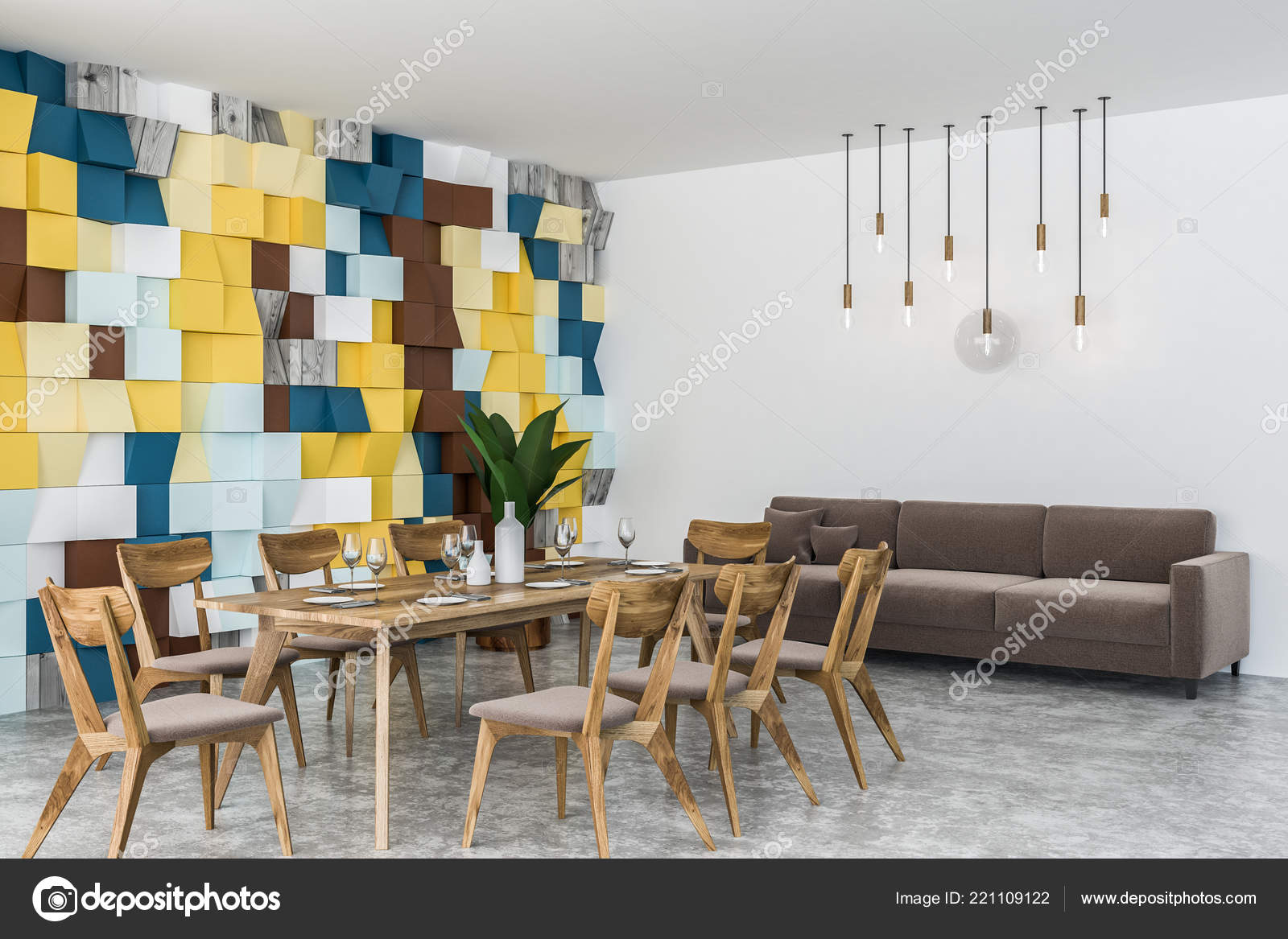 Comedor Elegante Con Colores Pared Azulejos Piso Concreto Mesa ...