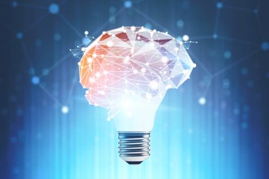 Big light bulb with polygonal brain sketch around it over dark blue background with network hologram. Concept of bright idea. 3d rendering toned image double exposure