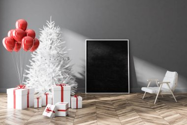Gray wall empty room interior with wooden floor, white armchair and decorated white Christmas tree. Holiday season concept. 3d rendering Vertical mock up poster
