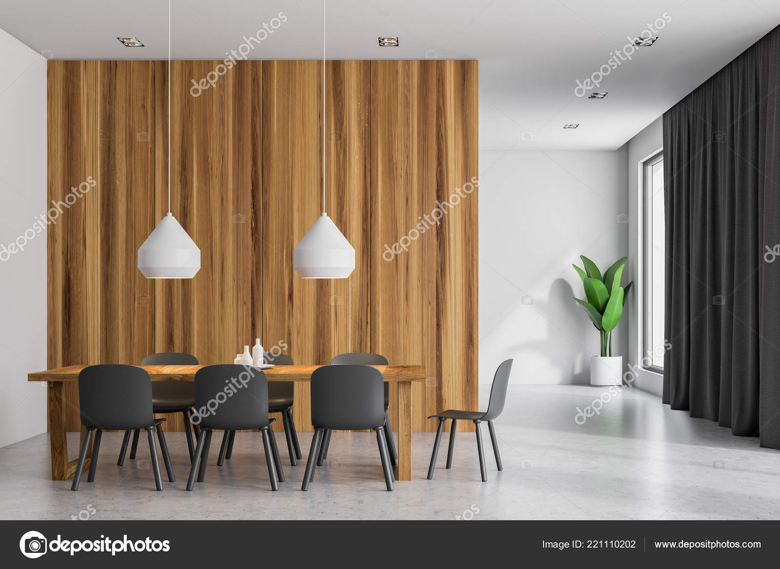 Pictures Dining Room For Walls Front View Modern Dining Room White Wooden Walls Wooden Table Stock Photo C Denisismagilov 221110202