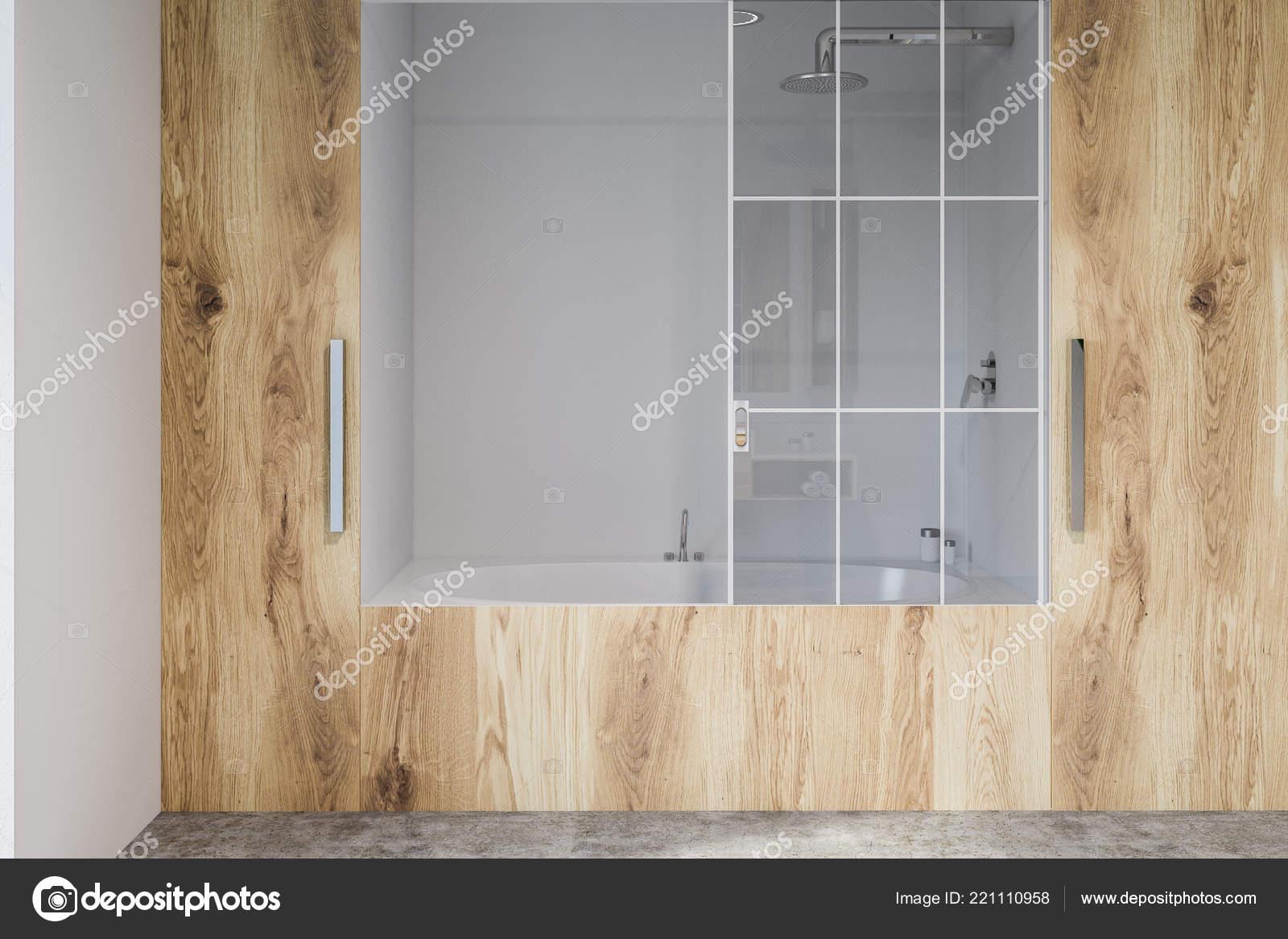 Interno del bagno moderno con pareti bianche legno for Pavimento in legno interno