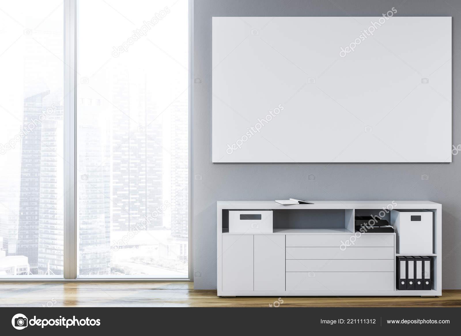 Grijze Woonkamer Interieur Met Houten Vloer Witte Kast Met