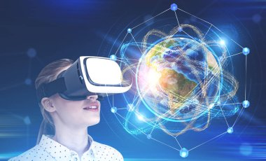 Blonde woman in vr glasses looking at Earth as atomic nucleus inside network hologram. Concept of hi tech and science. Toned image double exposure. Elements of this image furnished by NASA stock vector