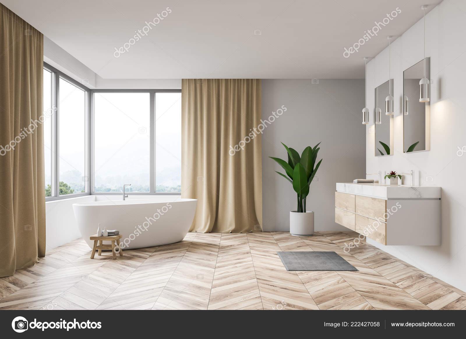 Intérieur Salle Bains Moderne Avec Des Murs Blancs Parquet Fenêtre ...