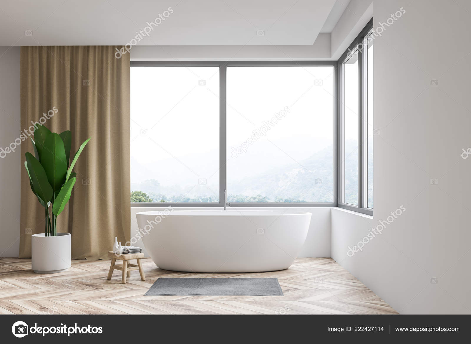 Bathtub Window Treatments Modern Bathroom Interior White Walls Wooden Floor Window Beige Curtains Stock Photo C Denisismagilov 222427114