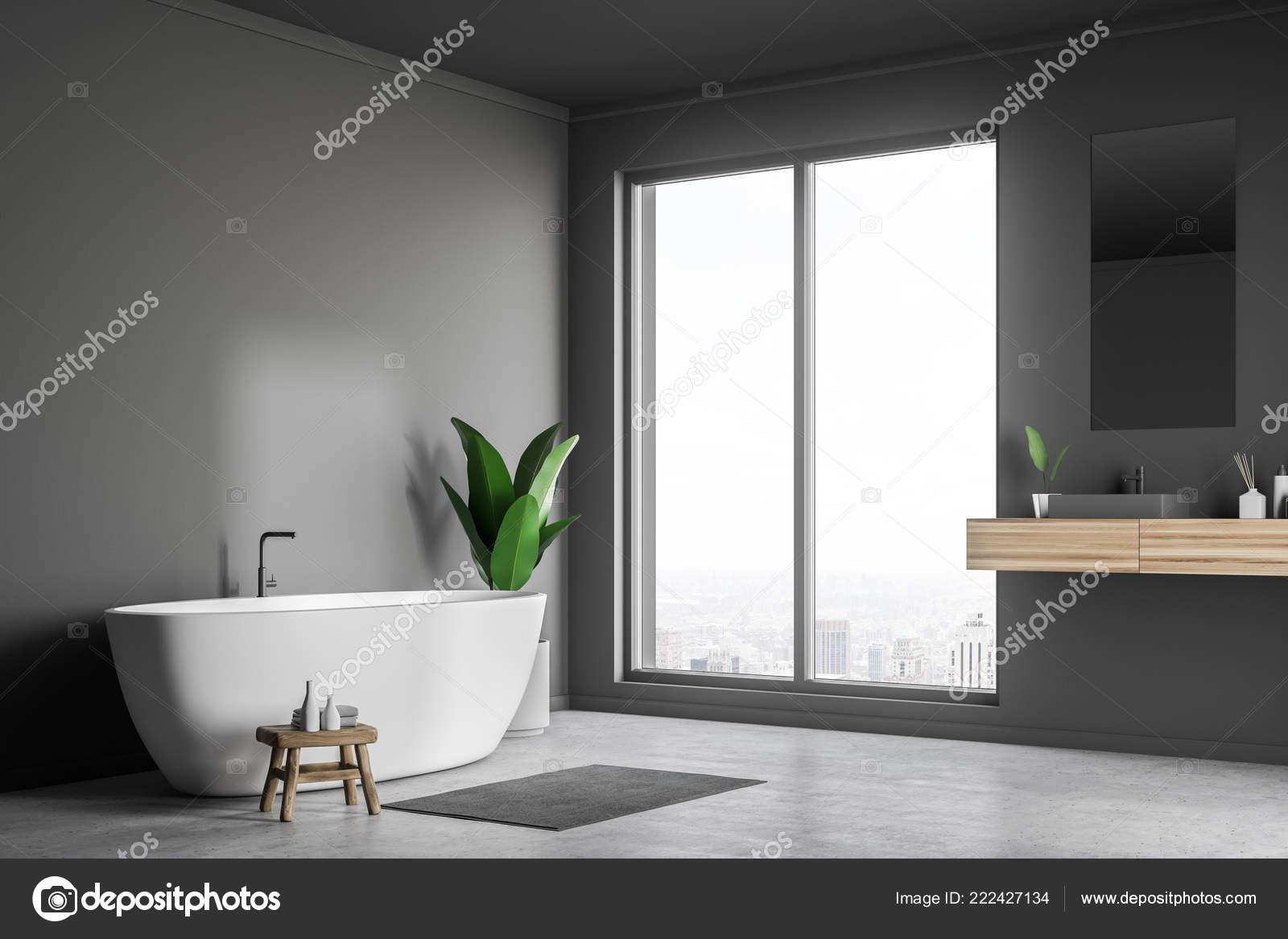 Vasca Da Lavare In Cemento : Angolo bagno soppalco con pareti grigie pavimento cemento vasca