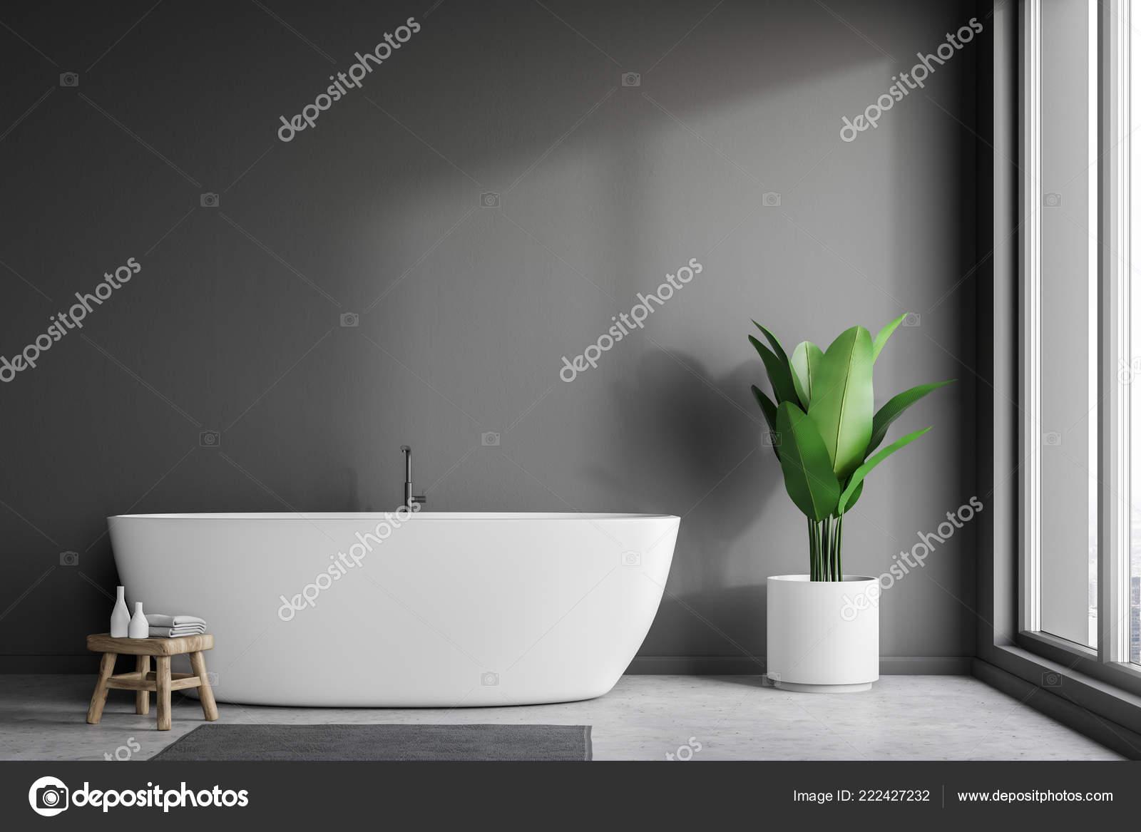 Vasca Da Lavare In Cemento : Interno bagno minimalista con muri grigi pavimento cemento vasca