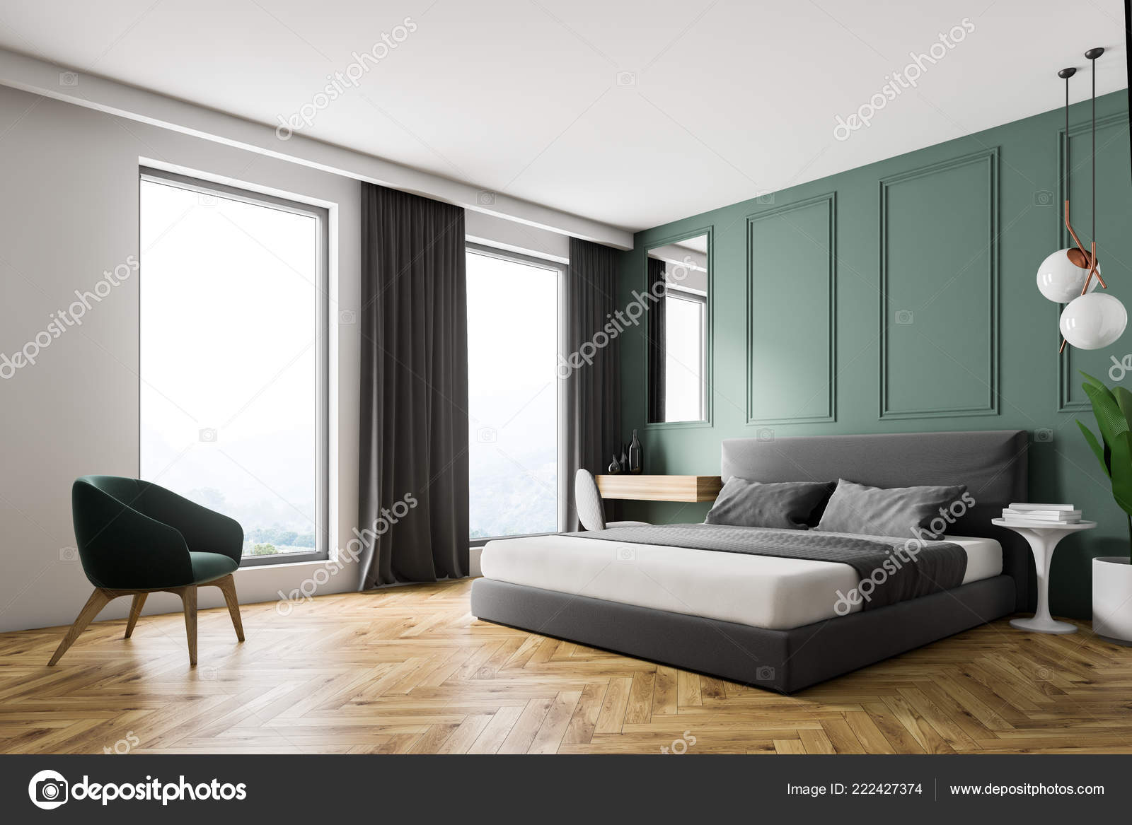 Corner Modern Bedroom Green Walls Wooden Floor Gray Master ...