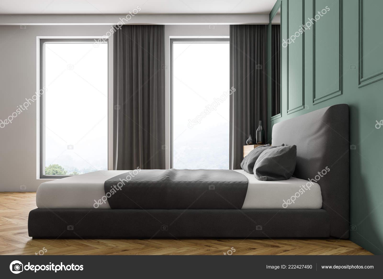 Side View Modern Bedroom Green Walls Wooden Floor Gray ...