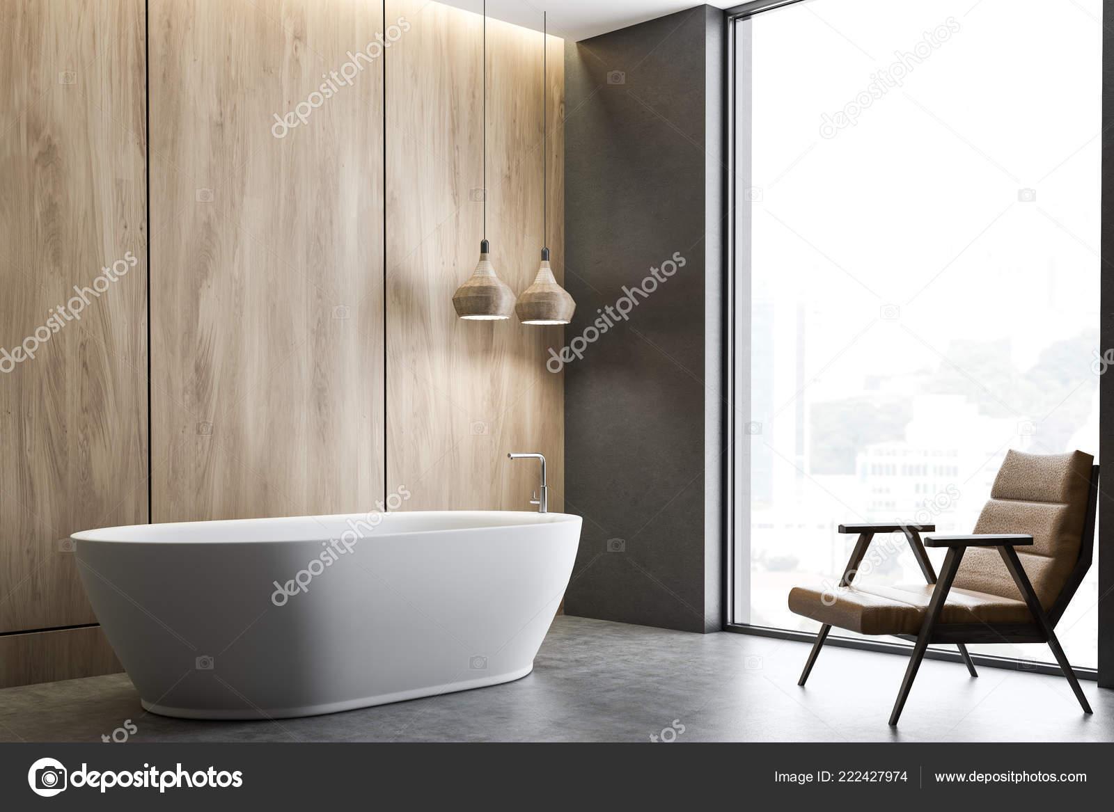 Vasca Da Lavare In Cemento : Angolo bagno con pareti legno pavimento cemento vasca bagno bianca