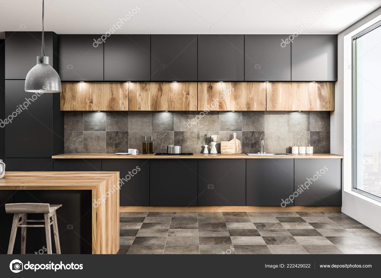 Vorderansicht Der Modernen Küche Interieur Mit Grauen Wänden ...
