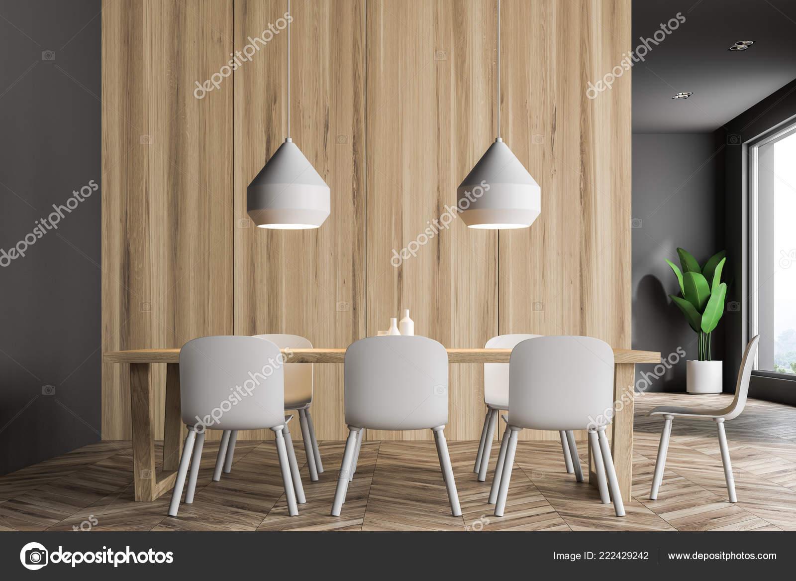 Gros Salon Moderne Avec Des Murs Gris Bois Table Bois ...