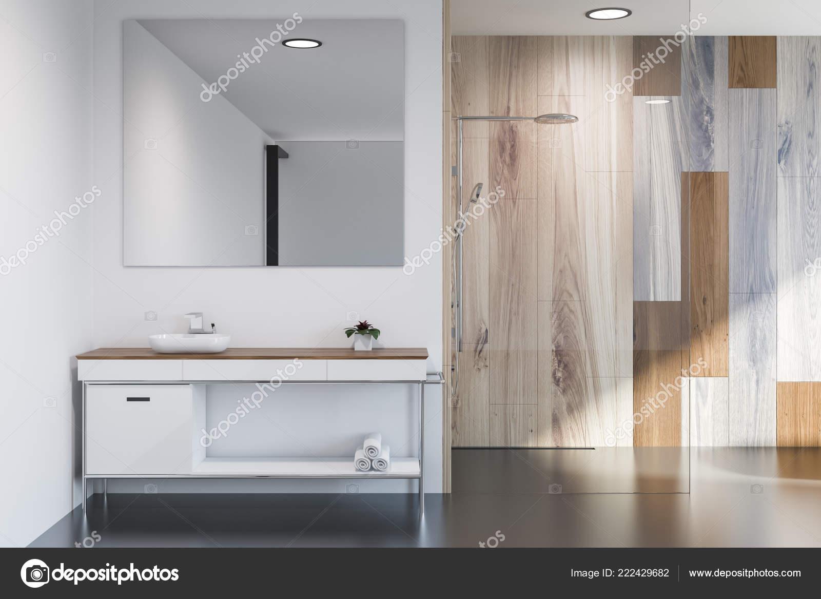 . Modern Bathroom Interior Gray Wooden Walls Sink Big Square Mirror
