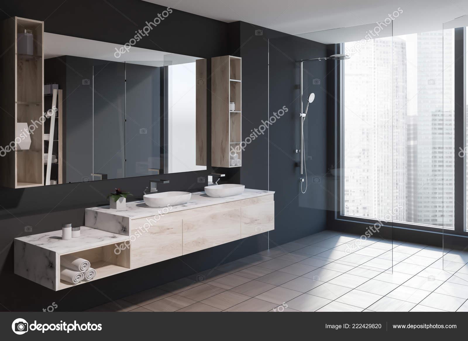 Bagni Con Doccia Alla Finestra : Angolo bagno moderno con pareti grigie pavimento piastrellato