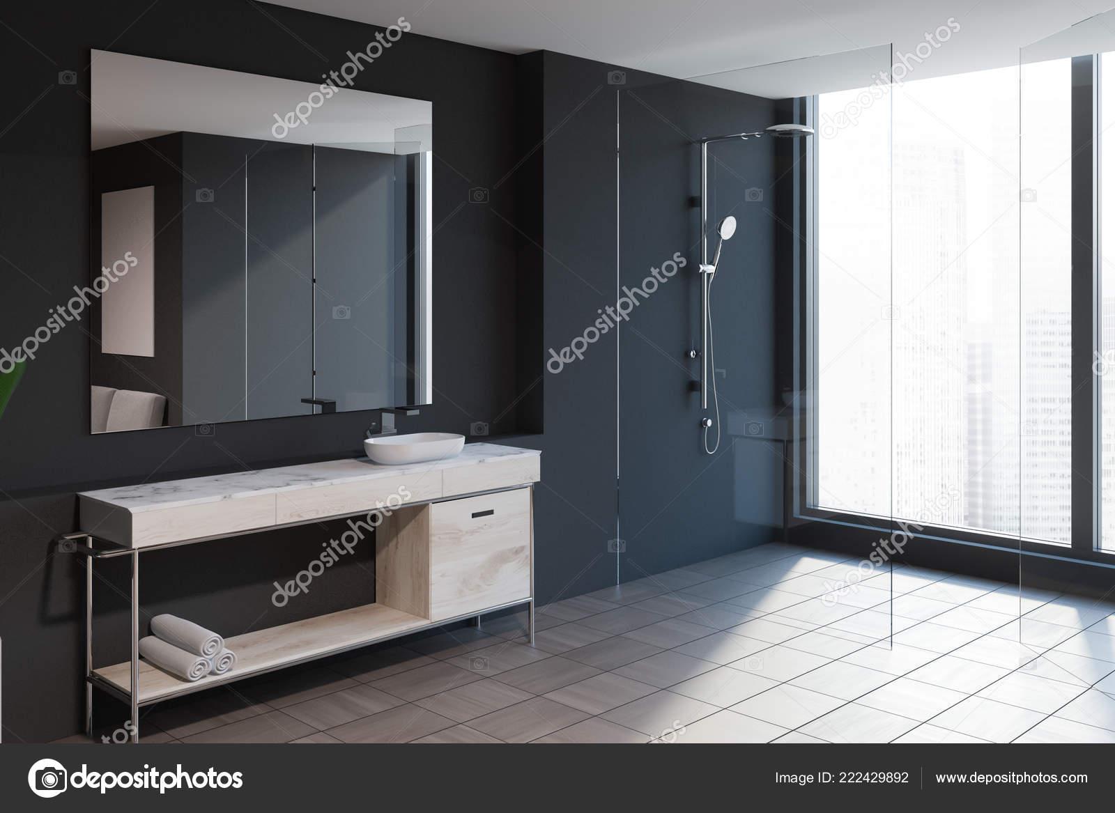 Vista Lateral Del Interior Cuarto Baño Moderno Con Paredes ...